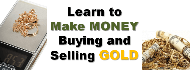 """Learn to make money buying and selling gold"" with golden jewelery on either side of the text"