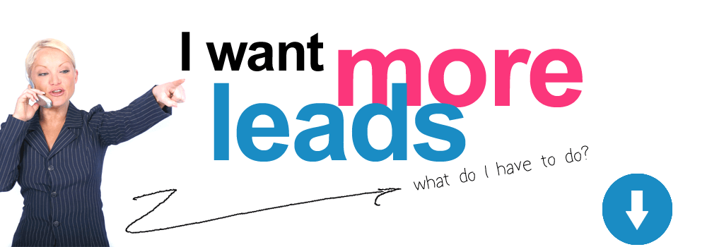 "a lady on a cell phone pointing to ""I want more leads"" with ""what do I have to to?"" below, and an arrow pointing down"