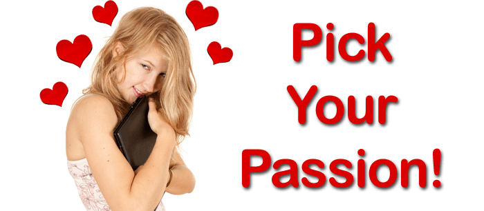 "girl hugging mobile device with red hearts over her head and ""Pick Your Passion!"" text to the right of her"