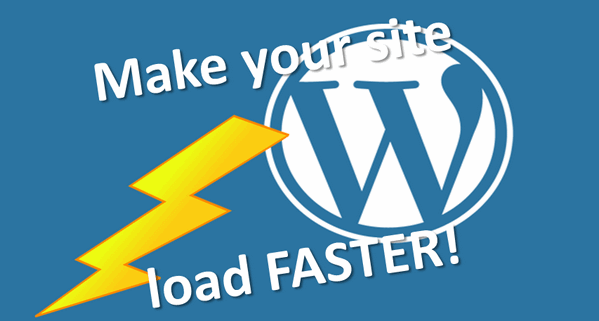 wordpress logo with a lightning bolt and text saying Make your website load faster!