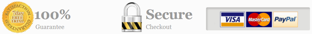 100% guarantee, secure checkout, and credit cards accepted