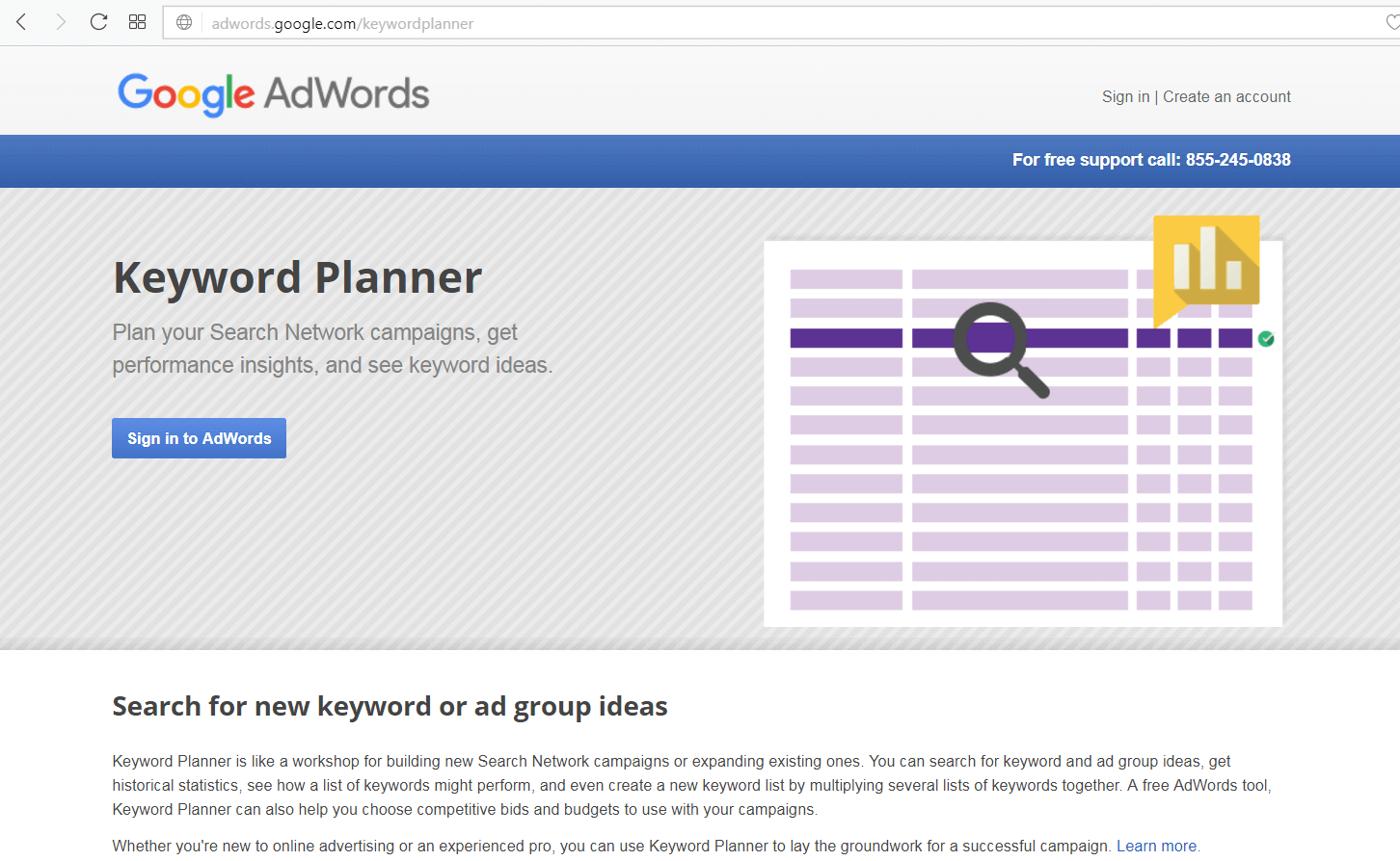 screen print of Google's Keyword Planner site