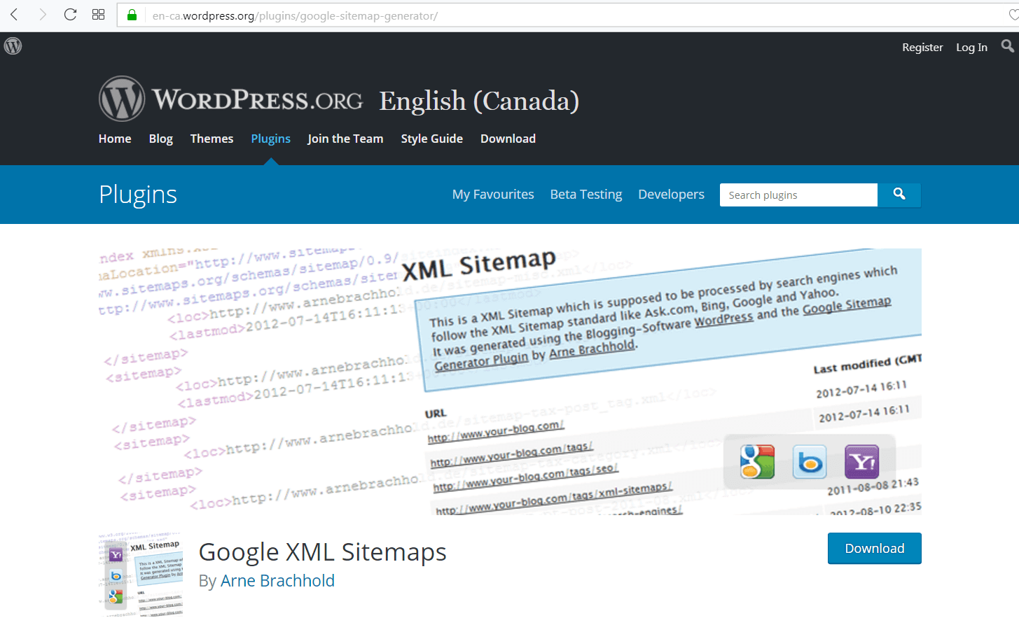 screen pring ot Google XML Sitemap plugin's site