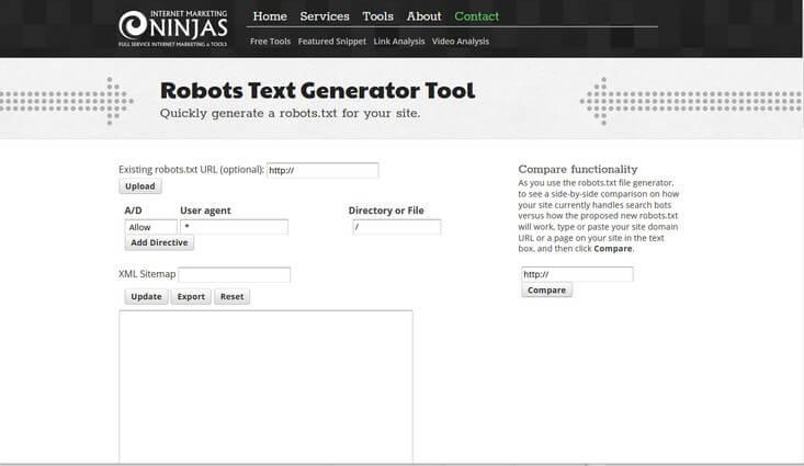 screen print of Internet Marketing Ninjas online robot.txt generator