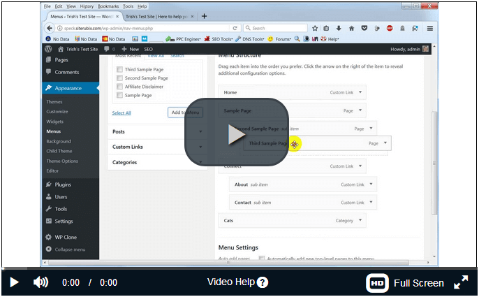 screen print of video tutorial on editing wordpress menu bar