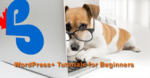 dog wearing glasses sitting in front of a laptop computer