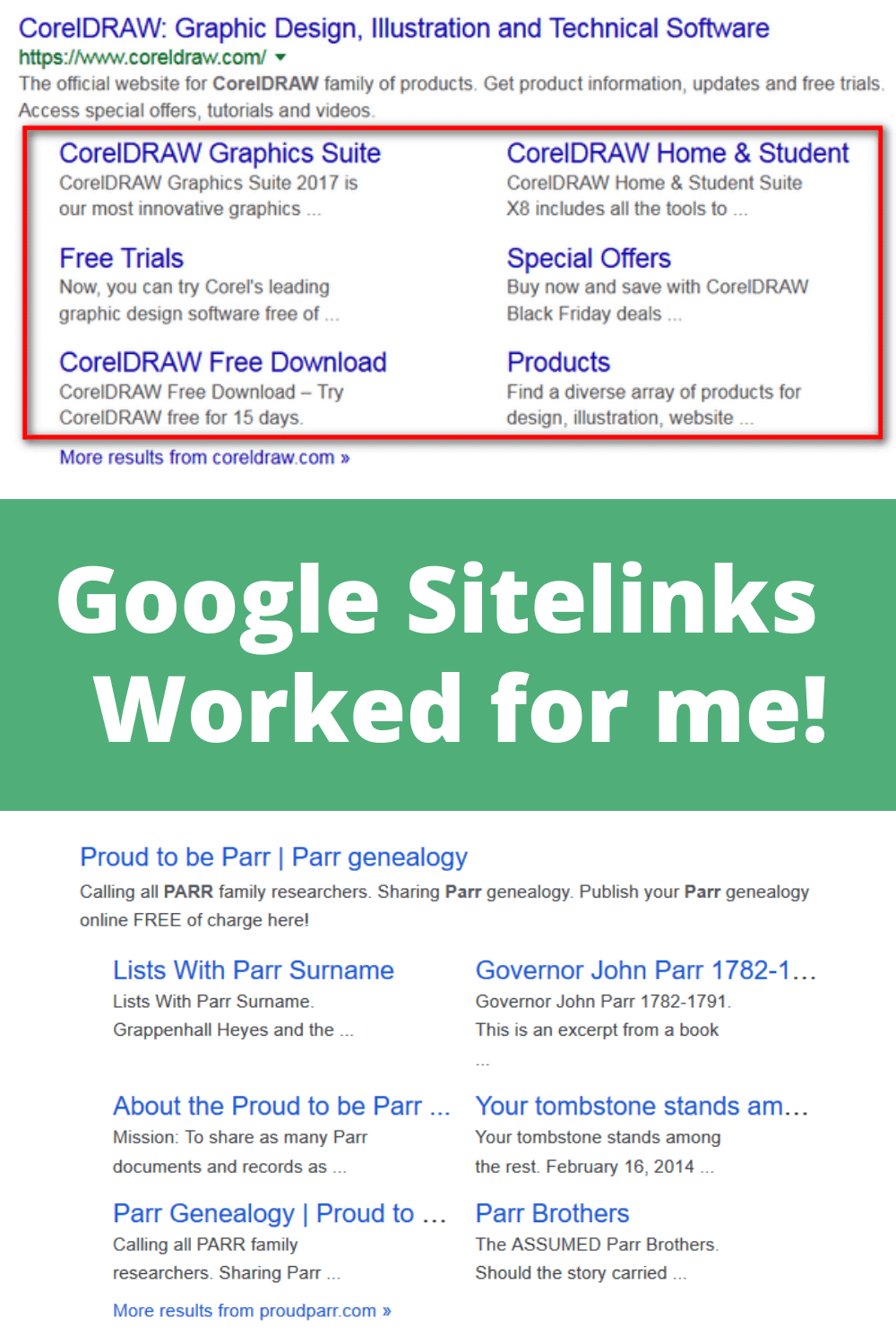 Google sitelinks worked for me!