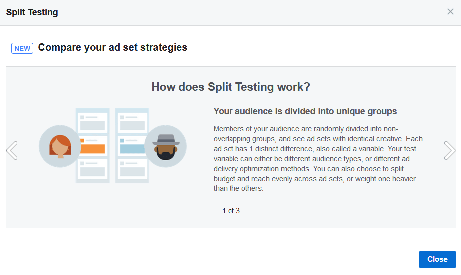 screen print explaining split testing, image 1 of 3