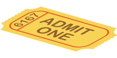 "picture of a ticket showing ""Admit One"""