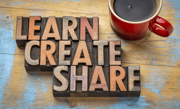 "image showing ""Learn, Create, Share"" along with a mug of coffee"