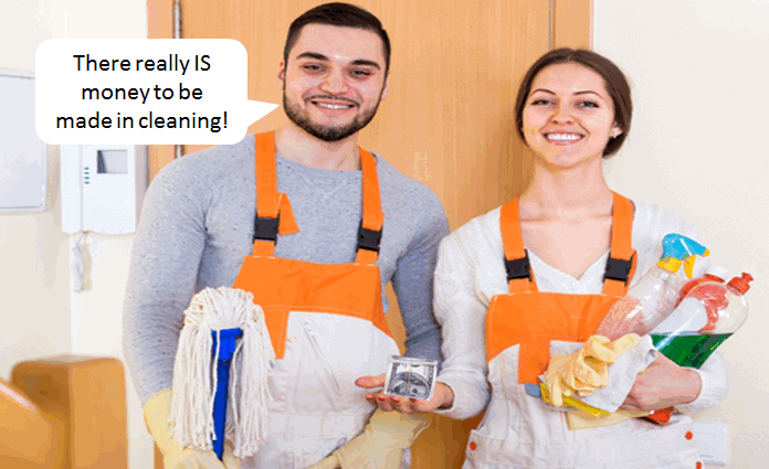 man and woman holding cleaning supplies - man saying