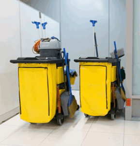 commercial cleaning cart for garbage, brooms, dust pan, etc.