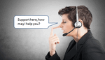 """Man with a pinocchio-nose, wearing a headset, saying """"Support here, how can I help you?"""""""