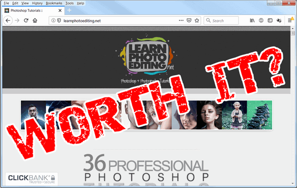 "screen print of Learn Photo Editing website with ""Worth It?"" text on top"