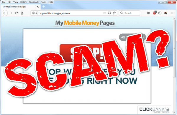 "screen print of My Mobile Money Pages website with ""Scam?"" printed on top"