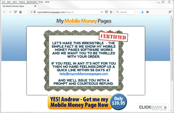 another screen print of My Mobile Money Pages website Pages