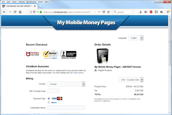 screen print of the payment page showing Canadian funds