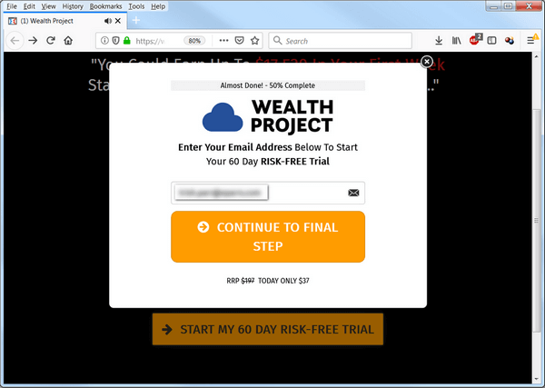 screen print of the Wealth Project website asking for my email address