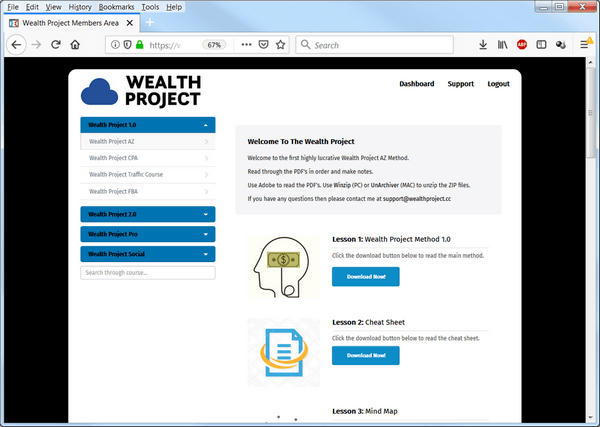 screen print of Wealth Project membership dashboard