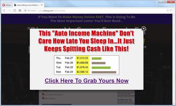 another screen print of Clickbank Formula's landing page, with a popup window displaying