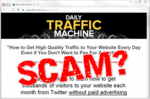 """screen print of Daily Traffic Machine website with """"SCAM?"""" over top"""