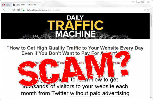 "screen print of Daily Traffic Machine website with ""SCAM?"" over top"