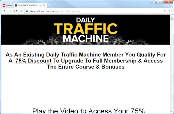 screen print of Daily Traffic Machine's upsell page after purchasing module 1