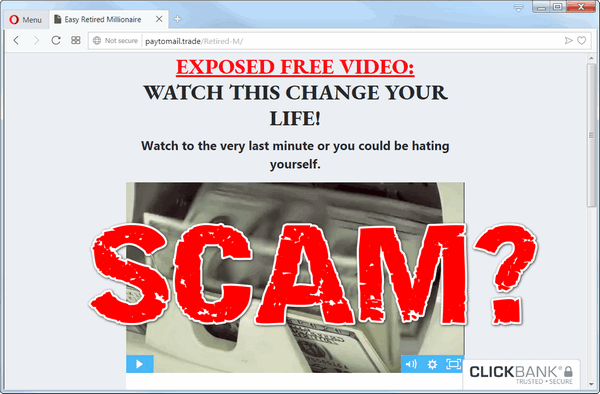 "screen print of the Easy Retired Millionaire website with ""SCAM?"" printed on top"