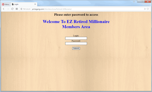screen print of EZ Retired Millionaire website membership area