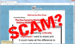 screen print of the Multiple Streams of Income website with SCAM? text on top