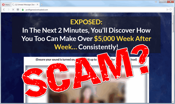 "screen print of the Profit Genesis 2.0 website with ""Scam?"" pasted on top"