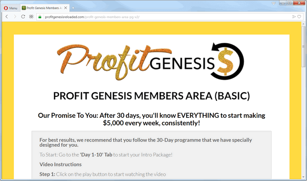 screen print from the Profit Genesis 2.0 membership web page