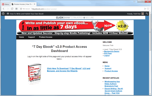 screen print of the 7 Day eBook V2.0 web page dashboard