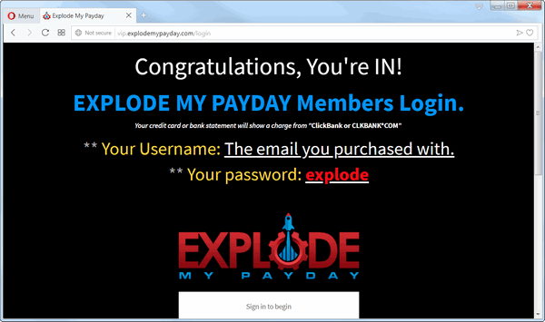 screen print of membership's login page for Explode My Payday website