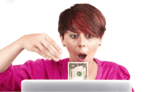 lady sitting in front of a laptop computer reaching for an American dollar bill that appears to be coming out of the monitor, and she has a shocked look on her face