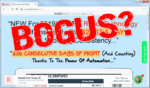 """screen print of Auto Chat Profits landing page with """"Bogus?"""" typed on top"""