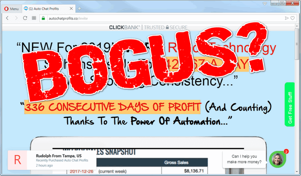 "screen print of Auto Chat Profits landing page with ""Bogus?"" typed on top"