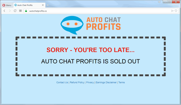 screen print of Auto Chat Profits main domain page