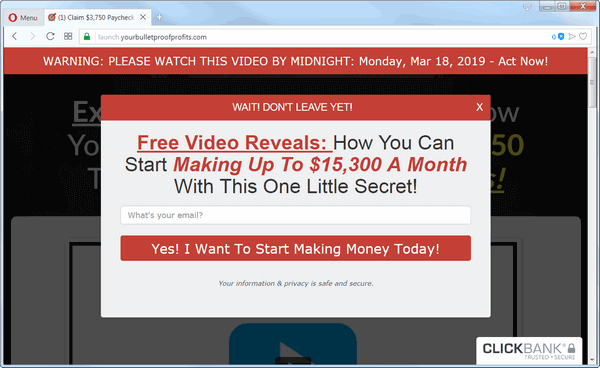 screen print of Bulletproof Profits' popup window on their website
