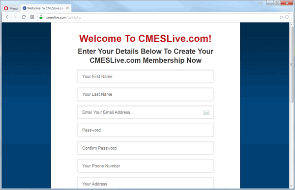 screen print of cmeslive.com's website landing page
