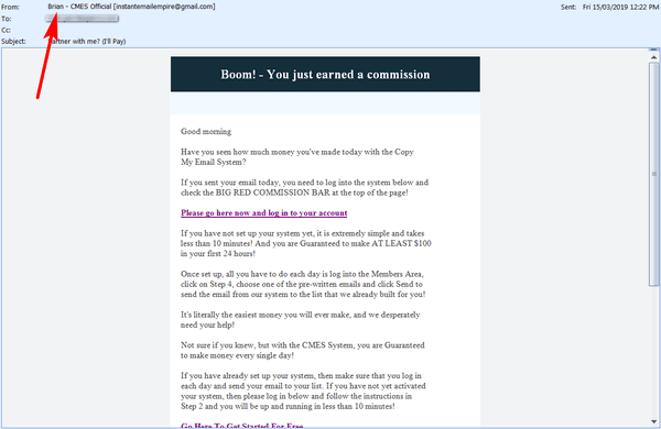 screen print of email received from somene named Brian
