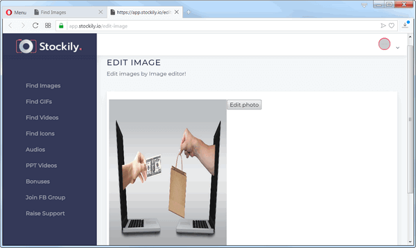 screen print of Stockily's image editor included in their membership area