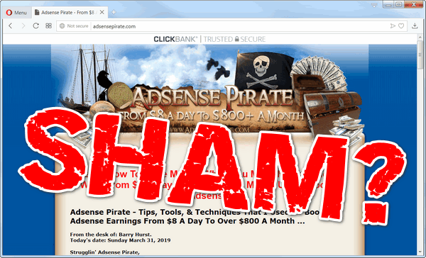 screen print of Adsense Pirate's website with SHAM? written on top