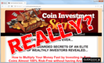"""screen print of Coin Investment Secrets' website with """"REALLY?"""" on top"""