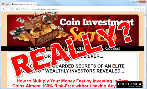 "screen print of Coin Investment Secrets' website with ""REALLY?"" on top"