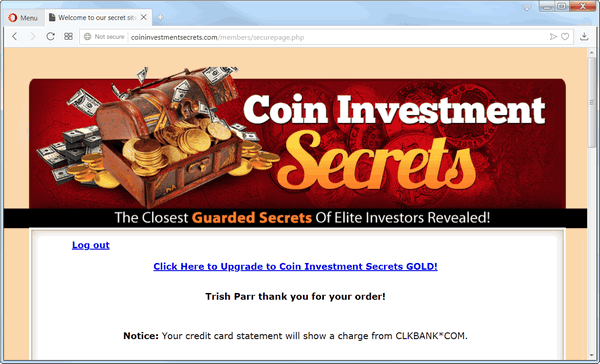 screen print of the product page for Coin Investment Secrets