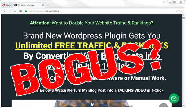 "screen print of WP Video Machine's website with ""BOGUS?"" written on top"