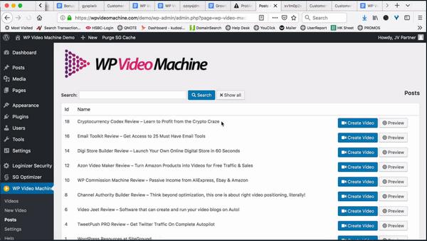 screen print of WP Video Machine plugin's control panel inside my website