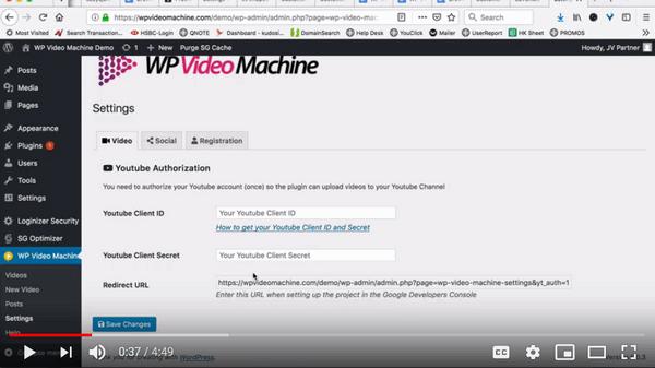 screen print of WP Video Machine's Settings inside my website