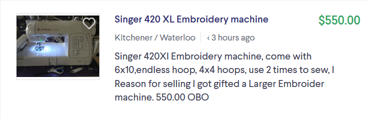 screen print of a used embroidery machine listed on Kijiji on the 20th of May 2019